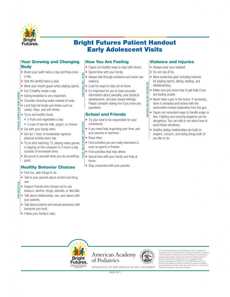 Bright Futures Patient Handout Early Adolescent Visits