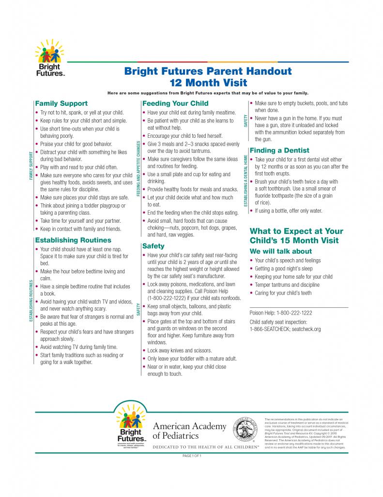 Bright Futures Parent Handout 12 Month Visit