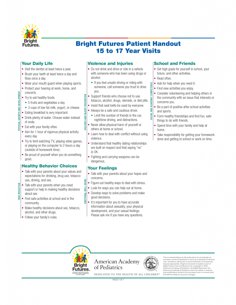 Bright Futures Patient Handout 15 to 17 Years