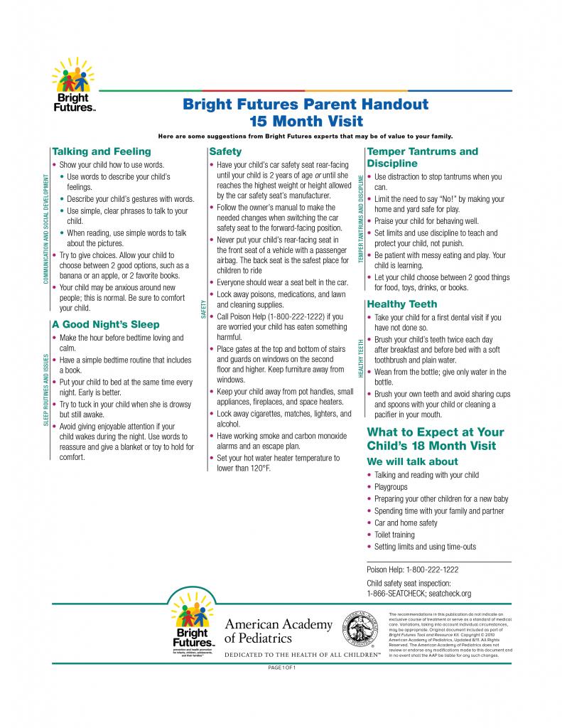 Bright Futures Parent Handout 15 Month Visit