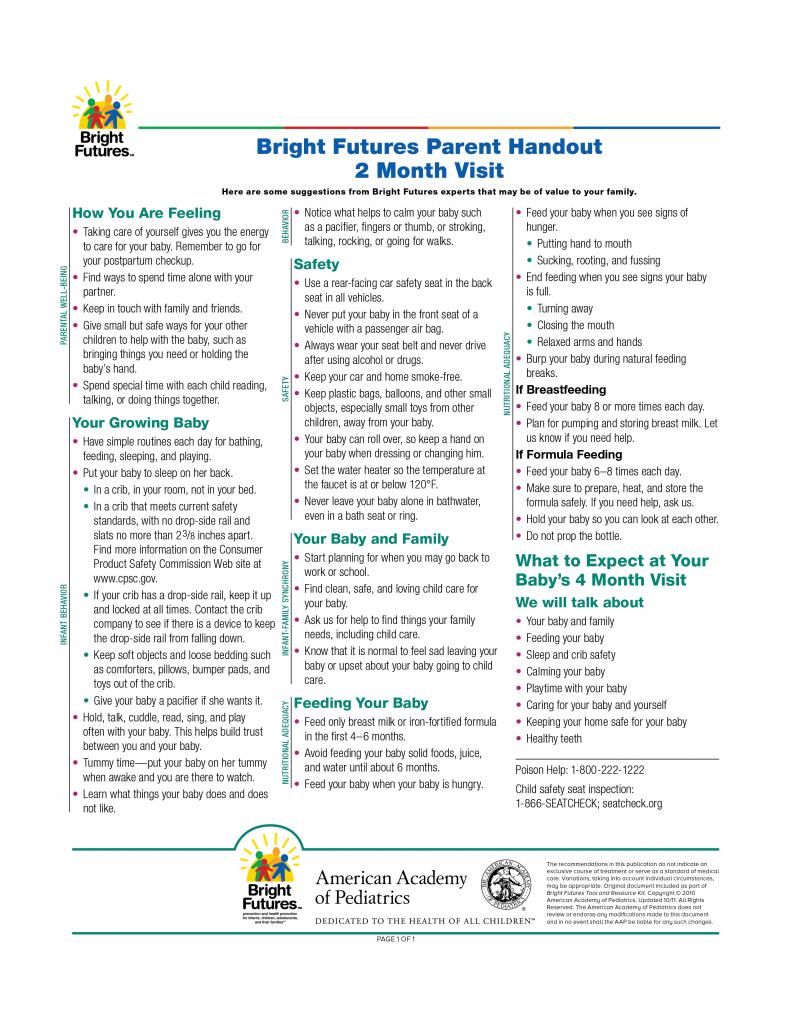 Bright Futures Parent Handout 2 Month Visit