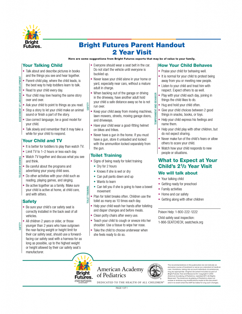 Bright Futures Parent Handout 2 Year Visit