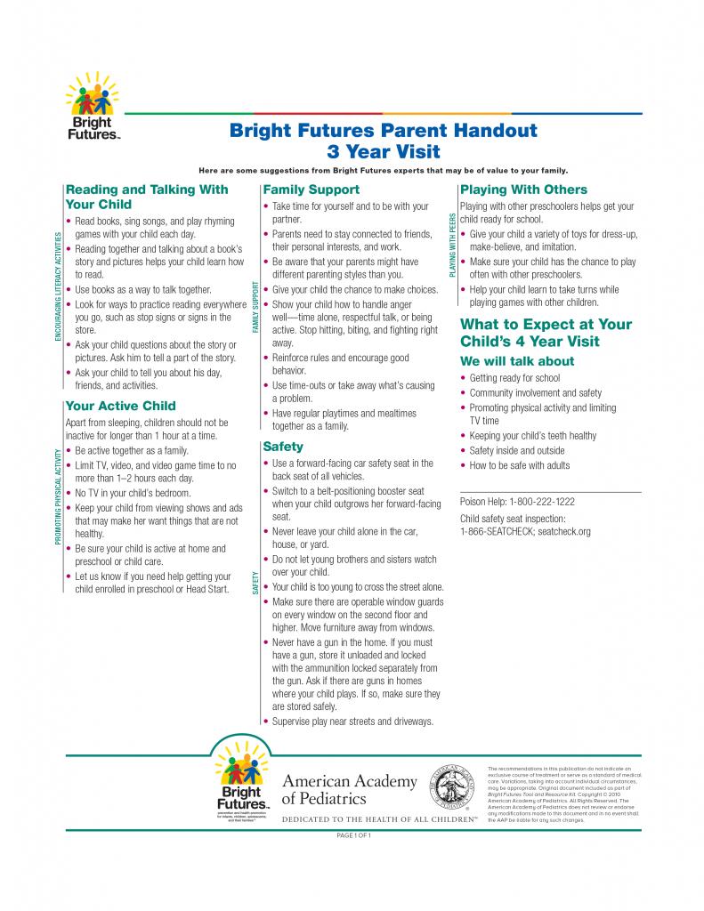 Bright Futures Parent Handout 3 Year Visit