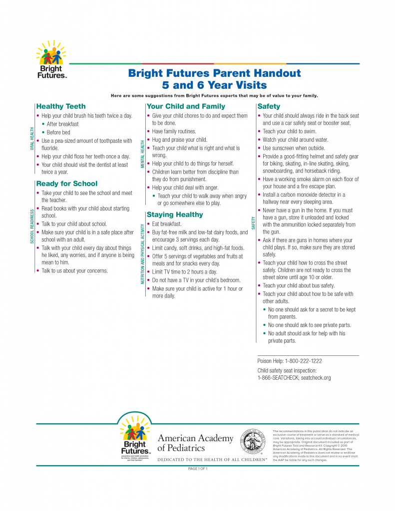 Bright Futures Parent Handout 5 and 6 Year Visits