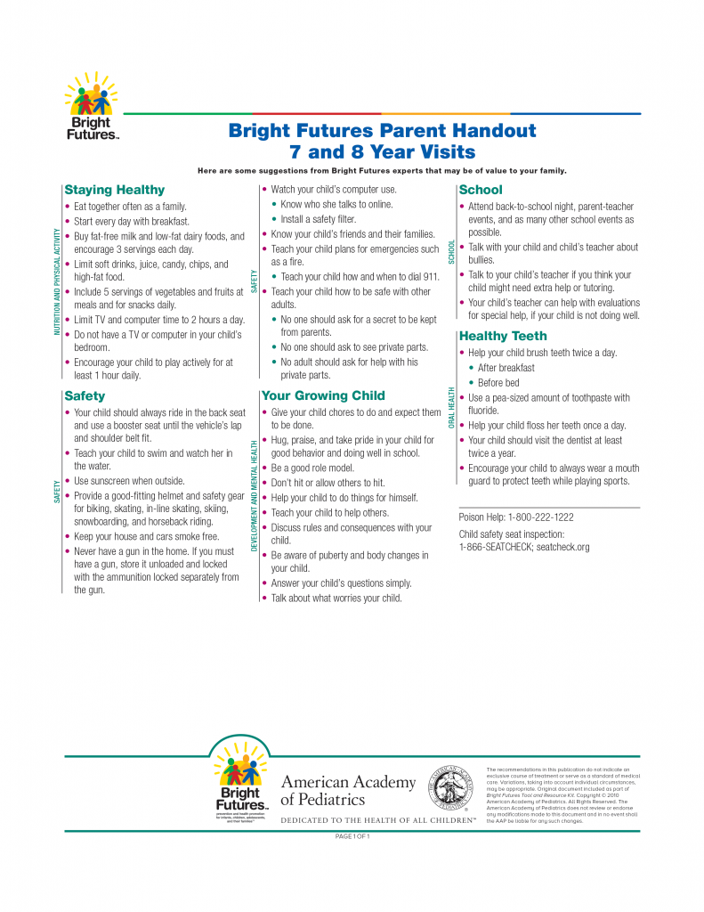 Bright Futures Parent Handout 7 and 8 Year Visits