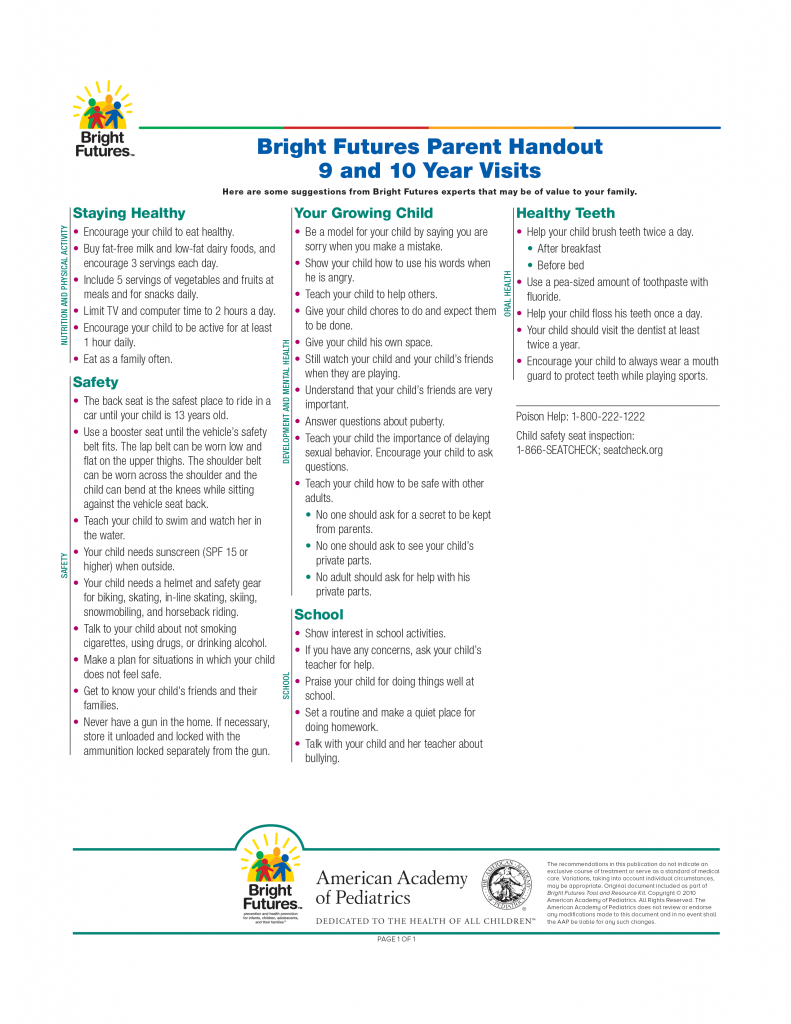 Bright Futures Parent Handout 9 and 10 Year Visits
