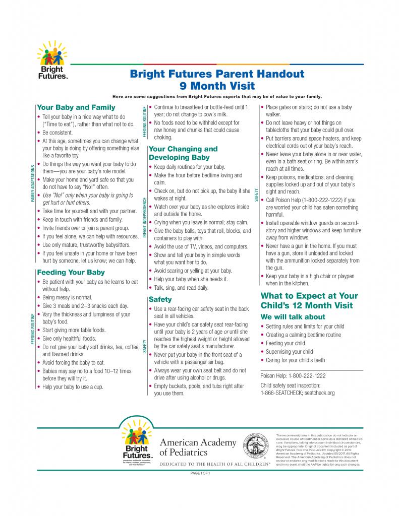 Bright Futures Parent Handout 9 Month Visit