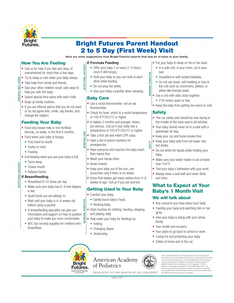 Bright Futures Parent Handout 2 to 5 Day (First Week) Visit
